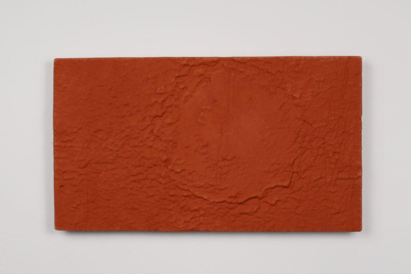 """Cut Crater in Memnonia Fossae, Terra cotta, 11.5"""" x 20"""", 2016"""