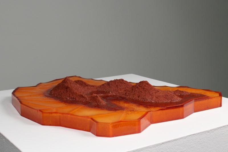 "Mars Triangulation 003, Kiln shelf, terra cotta, cast and milled resin, 17"" x 19"", 2016"