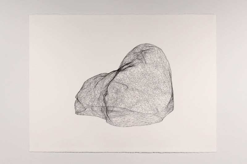 "Model for Mars Rock 001, Pen on paper 22"" x 30"", 2016"