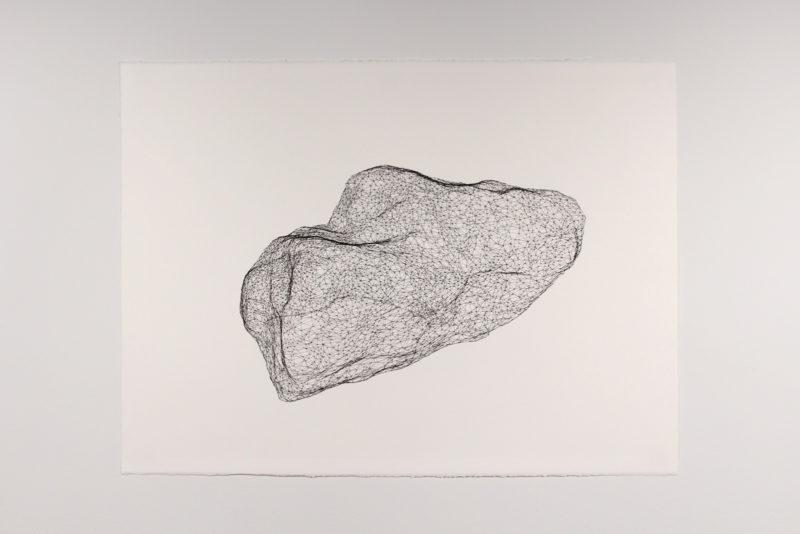 "Model for Mars Rock 003, Pen on paper 22"" x 30"", 2016"