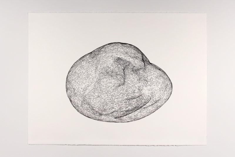 "Model for Mars Rock 008, Pen on paper 22"" x 30"", 2016"