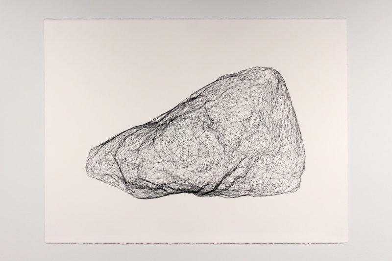 "Model for Mars Rock 011, Pen on paper 22"" x 30"", 2016"